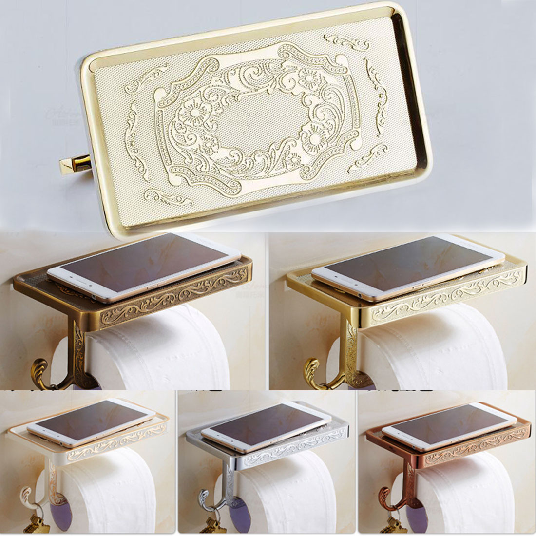 1pcs newly toilet paper holder antique carving mobile phone roll paper holder wall mounted paper. Black Bedroom Furniture Sets. Home Design Ideas