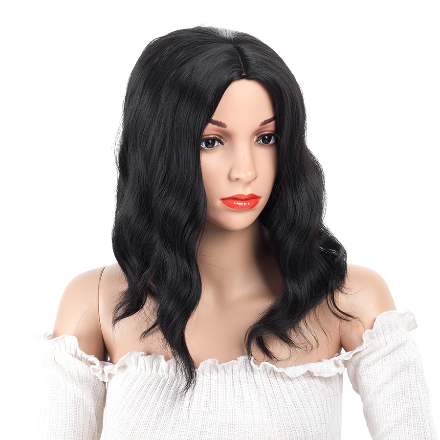 ELEGANT MUSES 16inch Synthetic None Lace Hair Black Color Short Bob Wig No Lace Glueless Heat Resistant Body Wave Wigs For Women