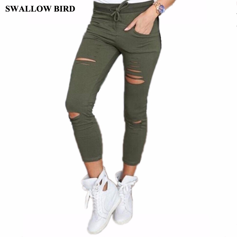 2017 new women leggings high waist 95% cotton elastic belt pencil pants hole Hollow solid cotton nine feet pants women hot sole