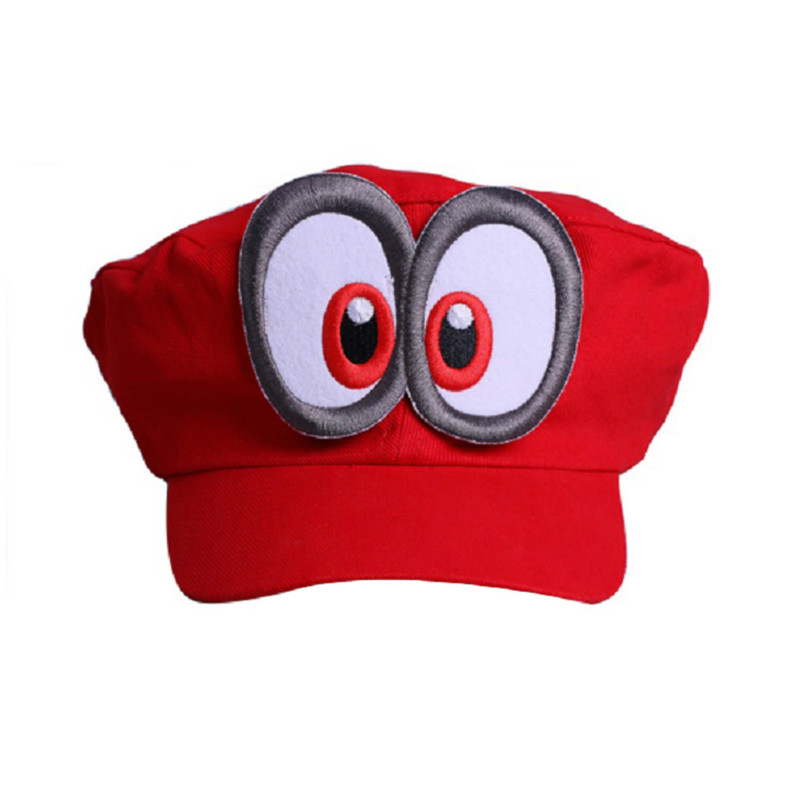 2018 Super Mario Odyssey Cosplay Hat Adult Kids Anime Baseball Caps Unisex Handmade Adjustable Red Hat