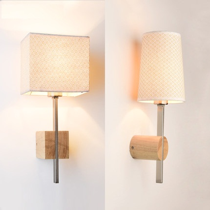 Creative Wood Fabric Wall Sconces Simple Modern LED Wall Light Fixtures For Bedroom Wall Lamp Home Indoor Lighting Lampara modern nordic bird wall lamp modern led wall light fixtures for bedroom bedside led wall mounted sconces home lighting lampara page 1