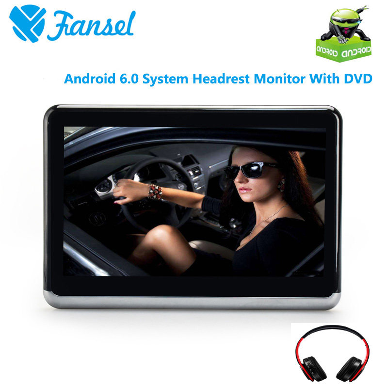 Fansel 10.1 Inch Android 6.0 Car Headrest DVD Monitor Player HD 1080P Video Support WIFIHDMIUSBSDBluetoothFM Transmitter