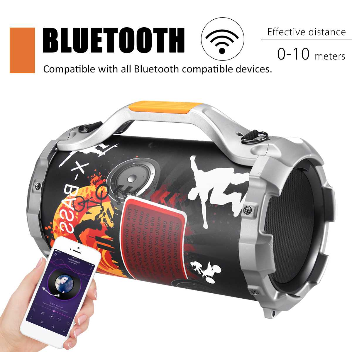 Portable Outdoor Wireless bluetooth Power Speaker Stereo Bass Subwoofer Karaoke DJ Loud Music Player +Microphone FM USB AUX SDPortable Outdoor Wireless bluetooth Power Speaker Stereo Bass Subwoofer Karaoke DJ Loud Music Player +Microphone FM USB AUX SD
