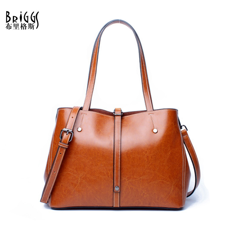 BRIGGS Brand Bucket Genuine Leather Casual Tote Fashion Women Handbag Soft Leather Shoulder Bag Famous Brand Designer Handbag shengdilu new arrival 2017 brand genuine leather women handbag soft leather fashion shoulder bag casual women monbag