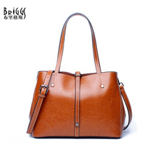купить BRIGGS Brand Bucket Genuine Leather Casual Tote Fashion Women Handbag Soft Leather Shoulder Bag Famous Brand Designer Handbag дешево