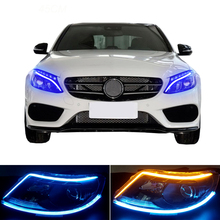 2pcs 45cm Flexible DRL Strip Angle Eyes Daytime Car Running Lights Turn Signal Lamp Headlight Brake For AMG W212