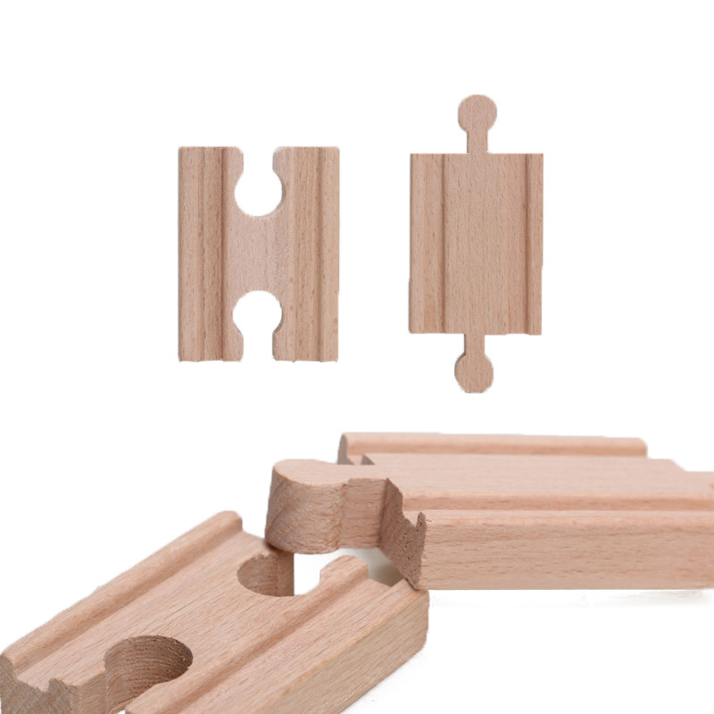5.4cm 2pcs Male-Male Female-Female Wooden Train Tracks Set Adapters Fits Railway Accessories Eucational Toys