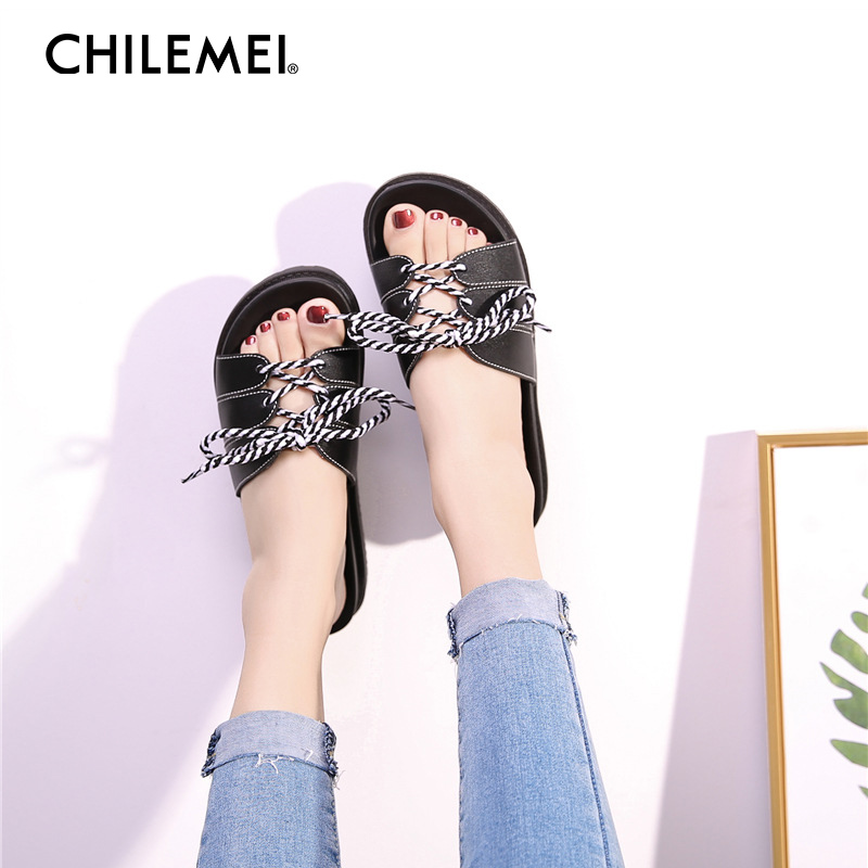 Summer New Female Thick-soled Flip Flops Toe Beach Flat Sandals Wild High Platform Women Bandages Outdoor Slipper Causal Shoes