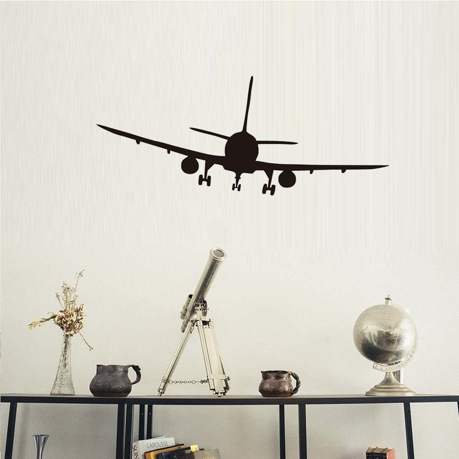 Vinyl Removable Commercial Airliner Wall Decals Home Decor Airplane Silhouette Wall Stickers For Bedroom Home Decoration