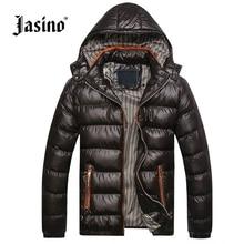 JASINO Brand Men warm casual winter down jackets men cotton black hooded basic wind breaker jackets coats down parkas men hoodie