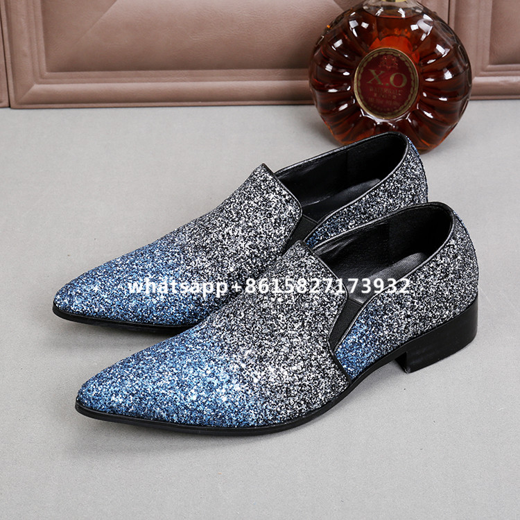 New Fashion Sequins Mixed Color Leather Mens Casual Shoes Slip-on Flats Top Quality Point Toe Casual Shoes Men Zapatos Hombre branded men s penny loafes casual men s full grain leather emboss crocodile boat shoes slip on breathable moccasin driving shoes