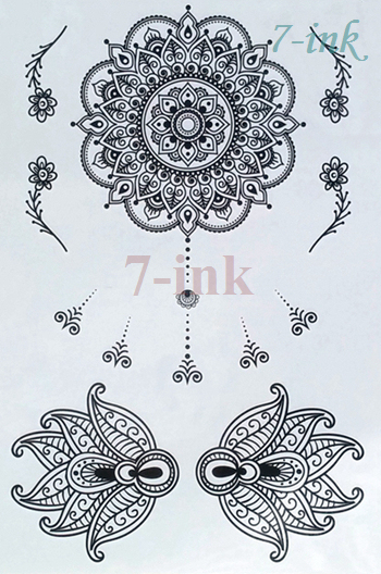 Art Body Tattoo Autocollant Fleur Lotus Mandala Mehndi Tatto Eau