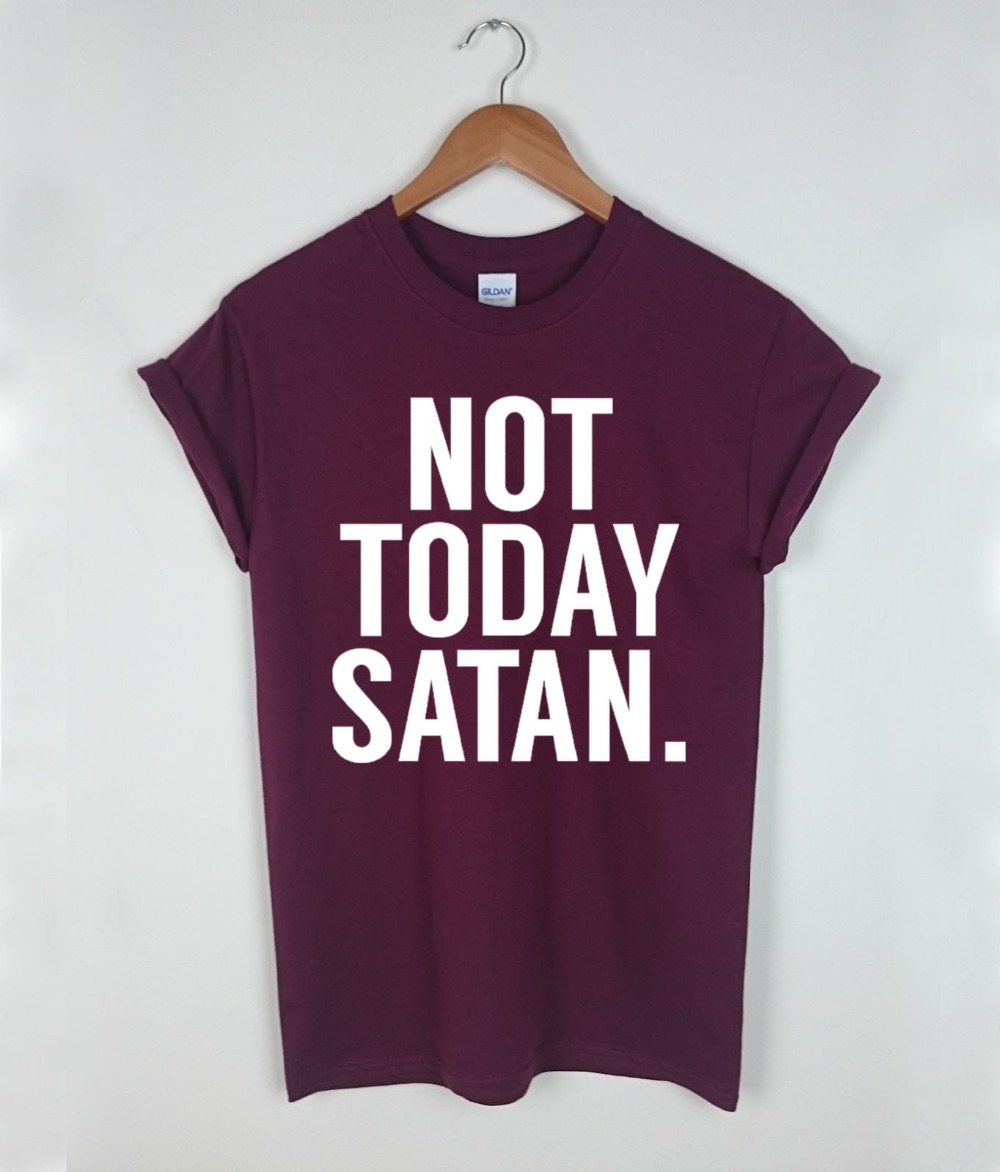 2019 Fashion Retro Summer Mens Print T-Shirt Not Today Satan T-Shirt Top Funny Tumblr Heart Hipster Blog Tee Womens Unisex Tees image