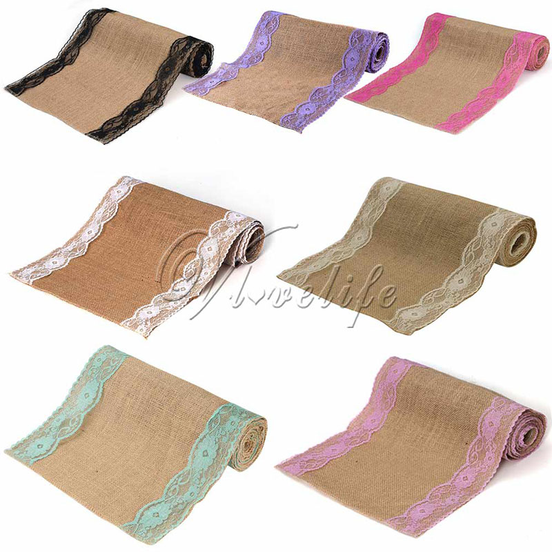 10Pcs Lot Vintage Burlap Lace Hessian Table Runner Classical Natural Jute Country Party Wedding Decoration 12x108