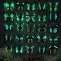25 pcs/8 cm 인공 빛나는 나비 원예 장식 꽃꽂이 화분 풍경 꽃 줄기 꽃병 장식