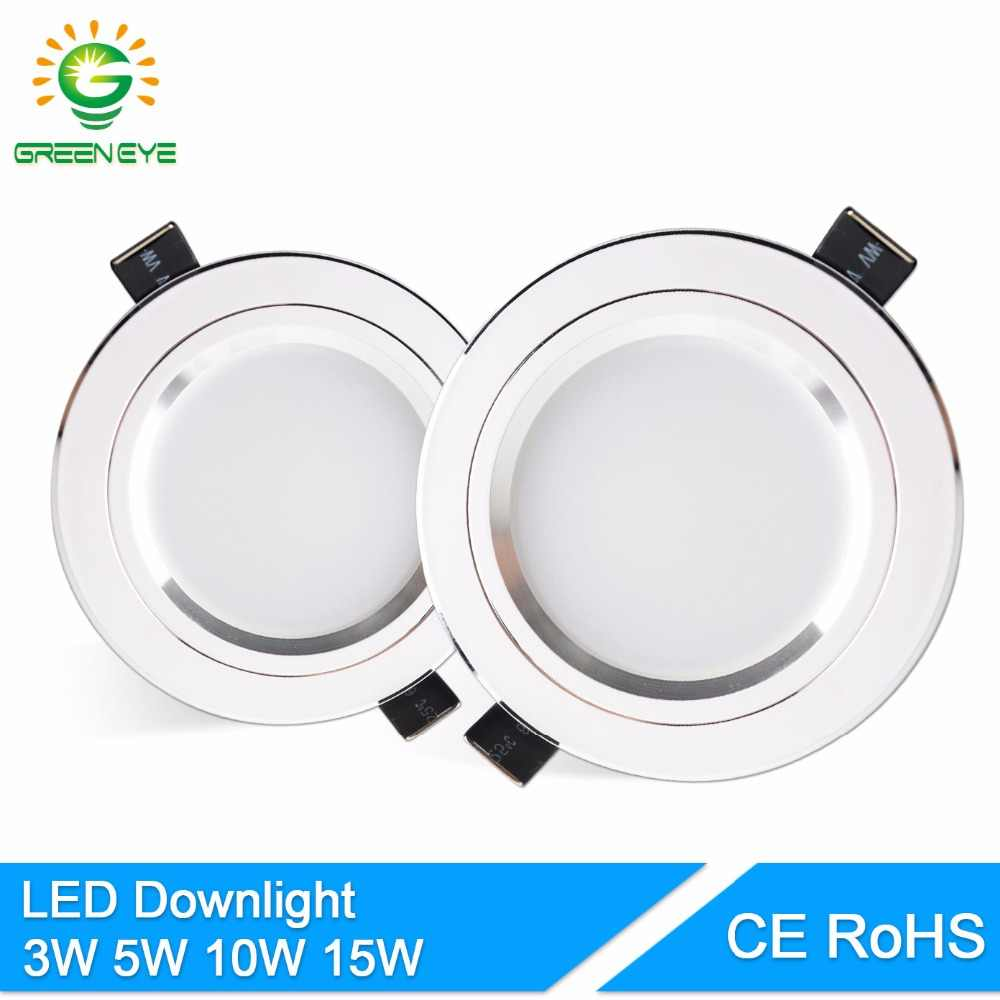 GreenEye LED Downlight Silver White AC 110v 220v 240v 4w 7w 9w 12w 15w Showcase Spot Light Lamp Round LED Recessed Down Light