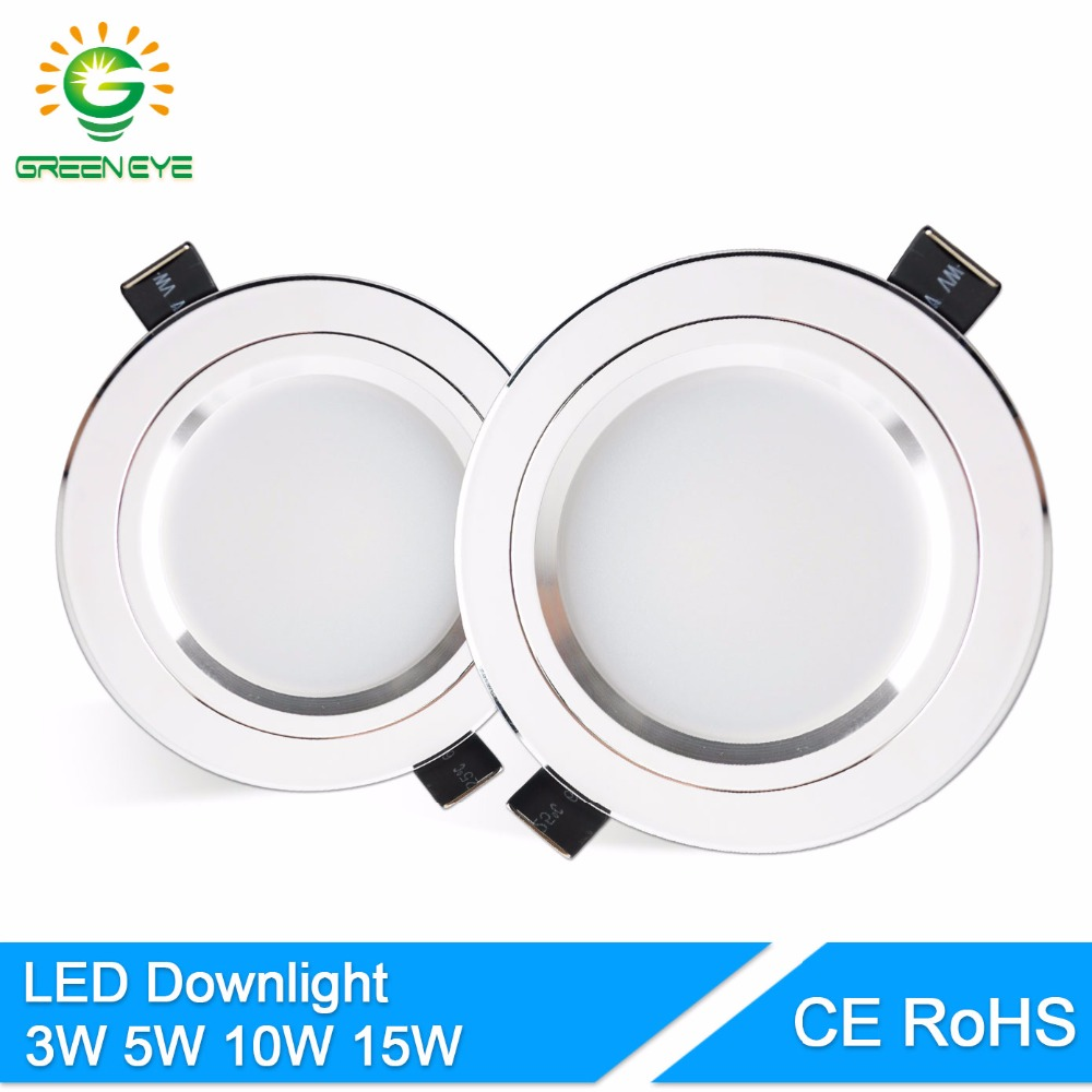 GreenEye LED Downlight Sølv Hvid AC 110v 220v 240v 4w 7w 9w 12w 15w Showcase Spot Light Lamp Runde LED Indbygget Down Light