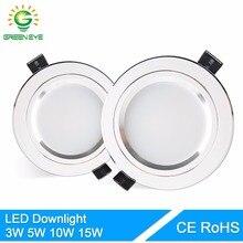 Greeneye LED Подпушка светло-серебристый белый AC 110 В 220 В 240 В 4 Вт 7 Вт 9 Вт 12 вт 15 Вт витрина пятно света круглые светодиодные лампы Встраиваемые Подпушка свет