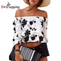 Women White Slash Neck Blouse Floral Print Sexy Crop Top Loose Cropped Tee Casual blusas feminino cheap clothes china ropa mujer