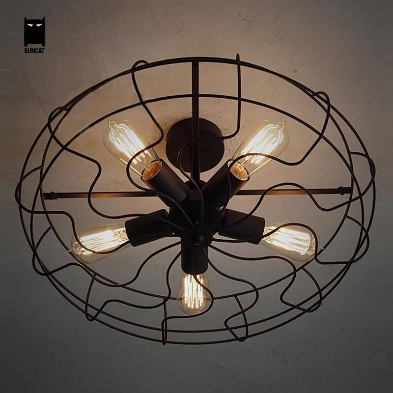 Black Iron Fan Ceiling Light Fixture Industrial Loft