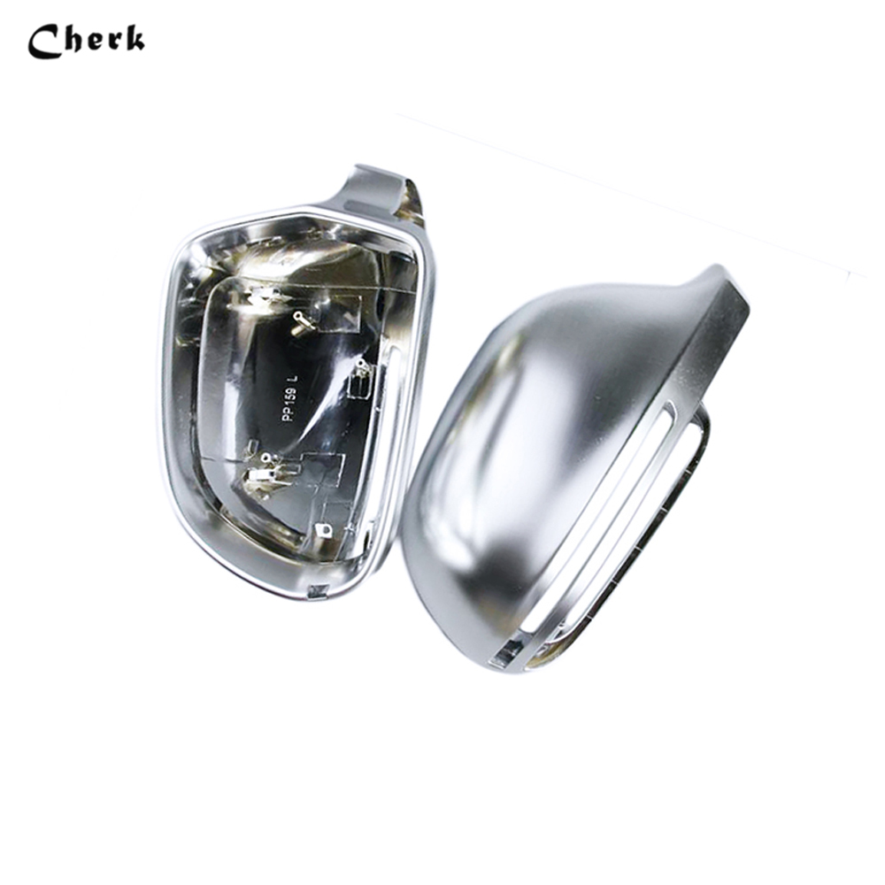 1 Pair ABS Matt Chrome Mirror Case Rearview Mirror Cover Shell For AUDI A4 (2008-2012) A5 (2008--2009) A8(2004-2008) Q3 B8 cafoucs car door wing rearview mirror led turn signal light side indicator lamp for audi a4 b8 a6 c6 a3 a5 a8 q3 2008 2011