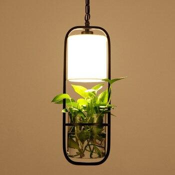 Pendant Light Garden Flowers Potted Plants Pendant Lamp Wrought iron Glass Garden Suspension Lights Nordic bar Bedroom Lamp G176