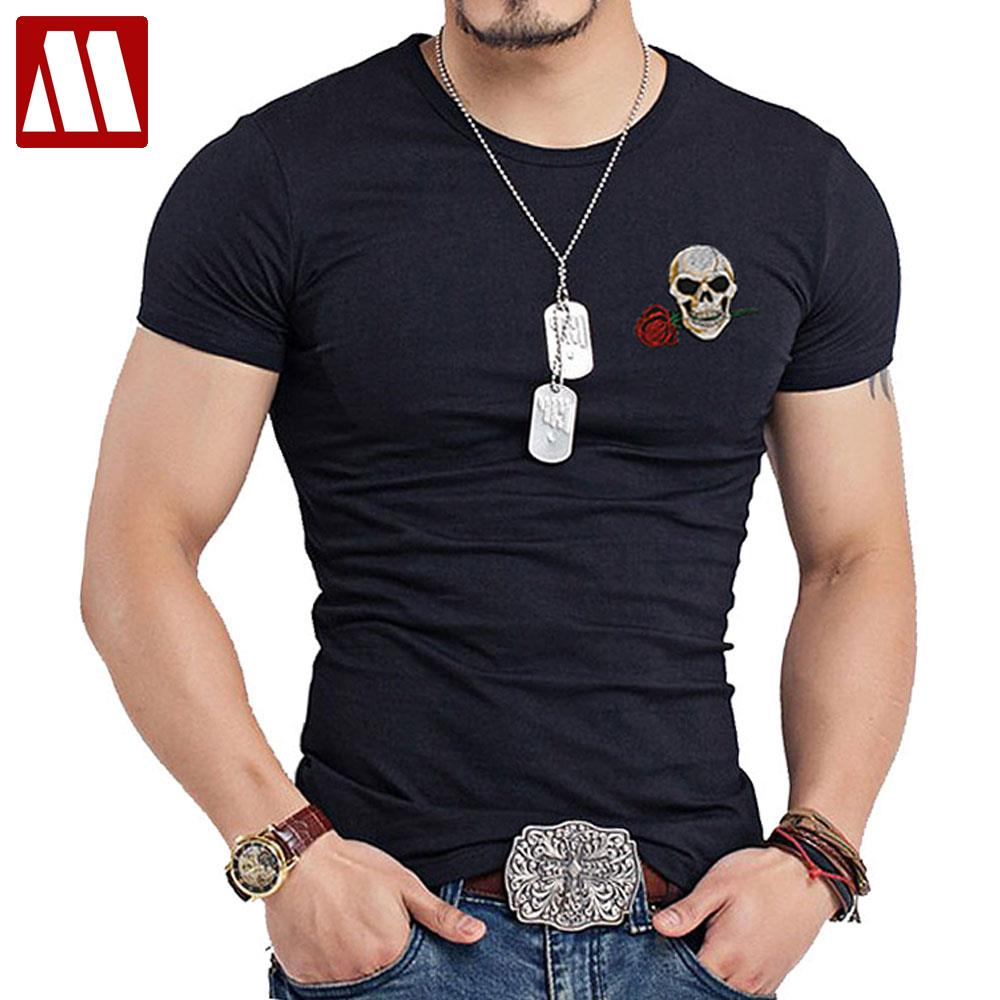 99f91a18e0843 ... Style Men O Neck T Shirt Swag Punk Rock Mens embroidery patch T shirt  Skull tshirt Buddha Tee Shirts Casual Streetwear-in T-Shirts from Men s  Clothing ...