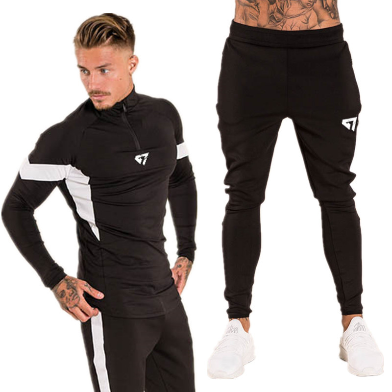 Gympxinran Autumn Mens Tracksuit Sports Clothing Running Set Gyms Long Sleeve T Shirt+Pants Men Sport Wear Fitness Clothing Sets