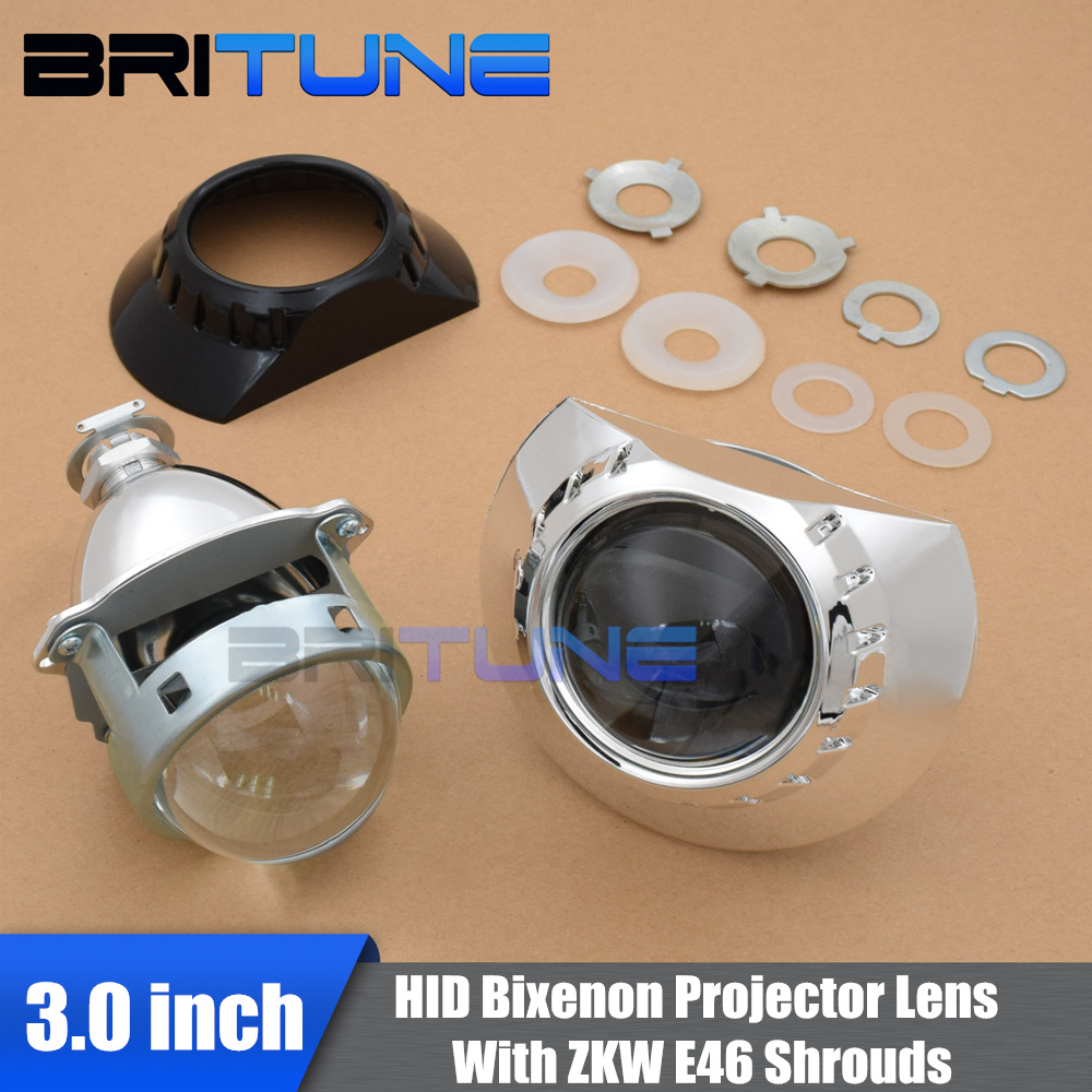 Britune Bi xenon Projector For BMW E46 ZKW/AL Halogen Headlight Lens Tuning Upgrade Full Metal 3.0 H1 HID H7 H4 Car Accessories