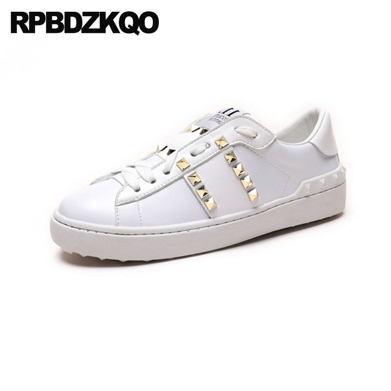 87ec6cc8c5 Metal Chinese Stud Round Toe Fashion Trainers Sneakers Flats Women Size 35 Rivet  Ladies White 2018