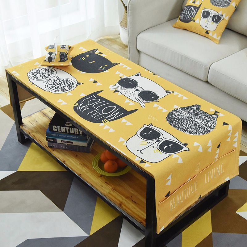 Us 24 0 25 Off Nordic Style Cotton Rectangular Tablecloths Multifunction Coffee Table Cover With Storage Bag Tv Cabinet Dining Mat In