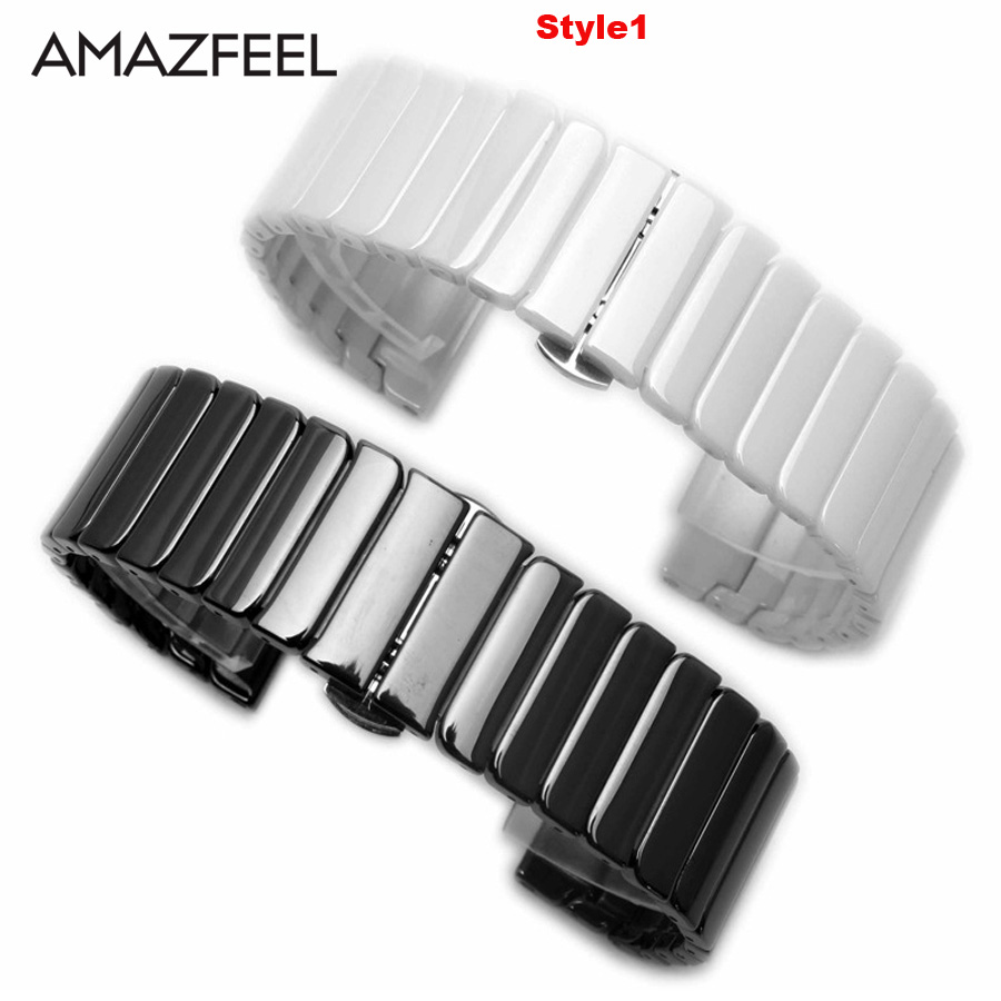Amazfit Bracelet Ceramic Watch Strap 22mm 20mm for Xiaomi Huami Amazfit Pace Bip Stratos 2 Correa Band for Samsung Gear S2 S3 S4 amazfit leather bracelet watch band 22mm for xiaomi huami amazfit pace stratos 2 correa wrist strap for samsung gear frontier s3