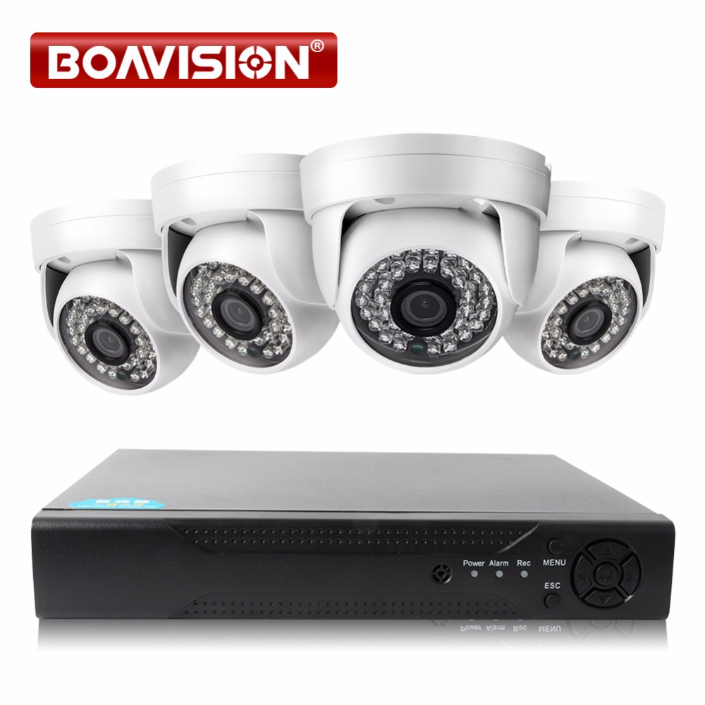 BOAVISION Home Security System 4CH 1080P AHD DVR System 1920*1080 2000TVL Dome Night Vision Surveillance Camera IR CCTV Kits 4 in 1 ir high speed dome camera ahd tvi cvi cvbs 1080p output ir night vision 150m ptz dome camera with wiper