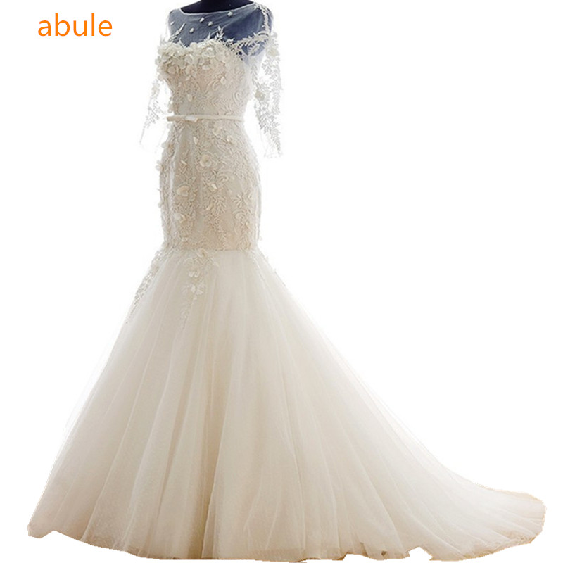 2016 nueva palabra hombro manga Vintage Lace fishtail hada vestido de - Vestidos de novia