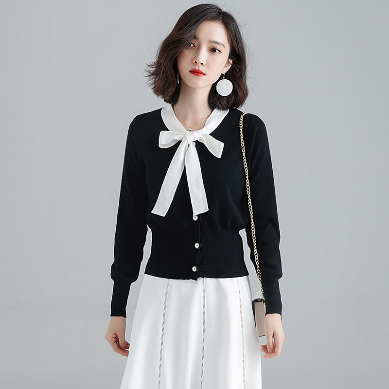 Autumn Winter Women Sweaters Knotted Decoration Tie Neck Thicken Warm Temperament Knitted Cardigan Sweater for Office Lady
