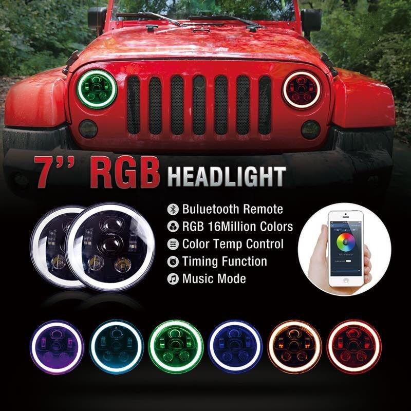7 дюймов LED rgb фары 7 &#171;Круглый Передние фары мигающий RGB Ангел глаз Halo Кольцо <font><b>Bluetooth</b></font> управлением для <font><b>Jeep</b></font> Wrangler LJ CJ JK