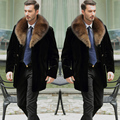 Large Size 2016 Winter Men Medium Long Faux Mink Fur Coats Male Black Fur Collar Casual Plus Size Fur Outerwear 4XL 5XL W825