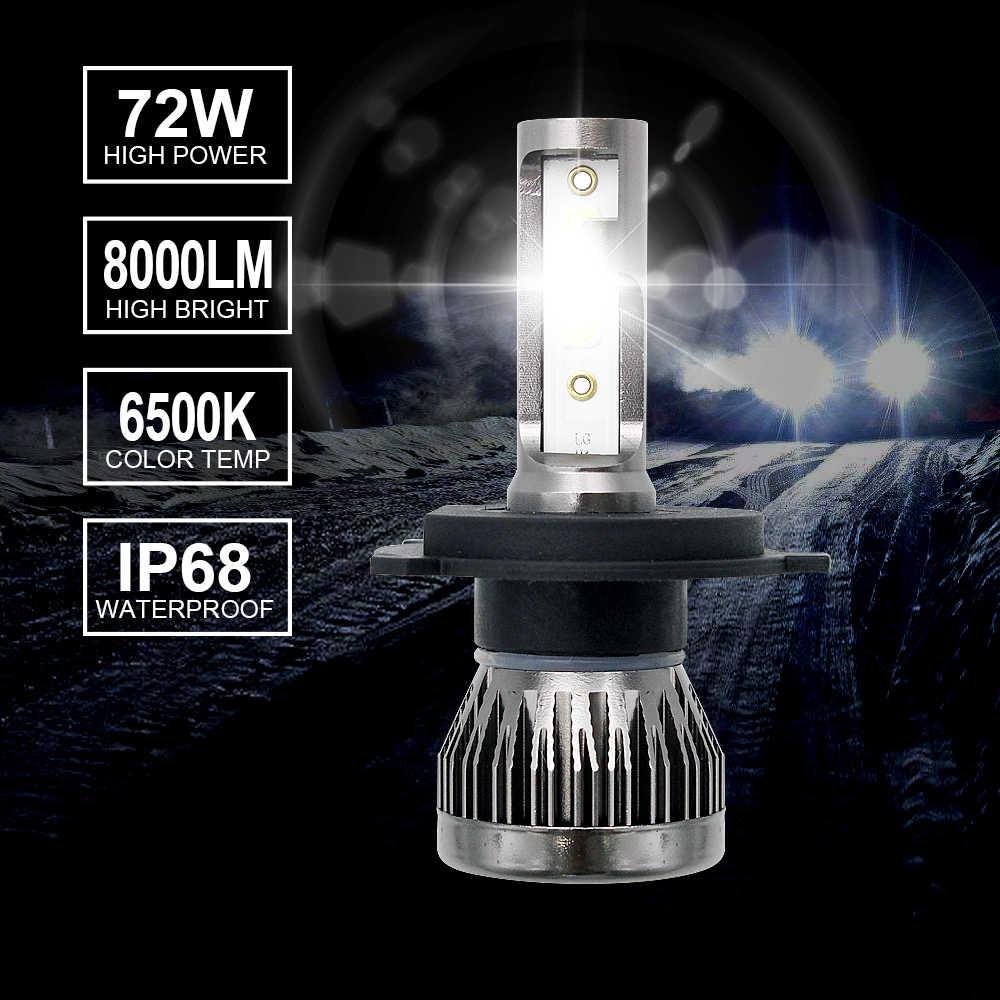 2pcs 72W H4 Hi/Lo Mini LED H1 H7 H11 9005 9006 Car Headlight Bulb 12V COB LED Auto Headlamp Conversion Kit 6000K