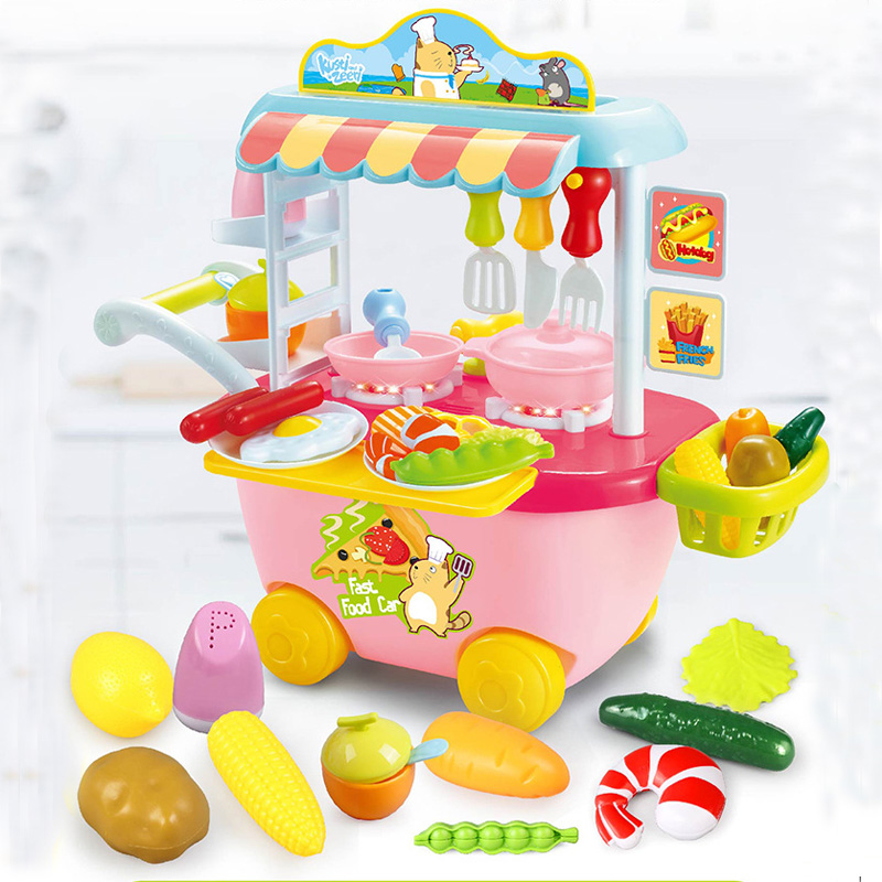 Miniature Food Truck Pretend Play Cooking Tableware Set kitchen Toys Simulation Manage Role-playing Games Kids Educational Toys admin manage