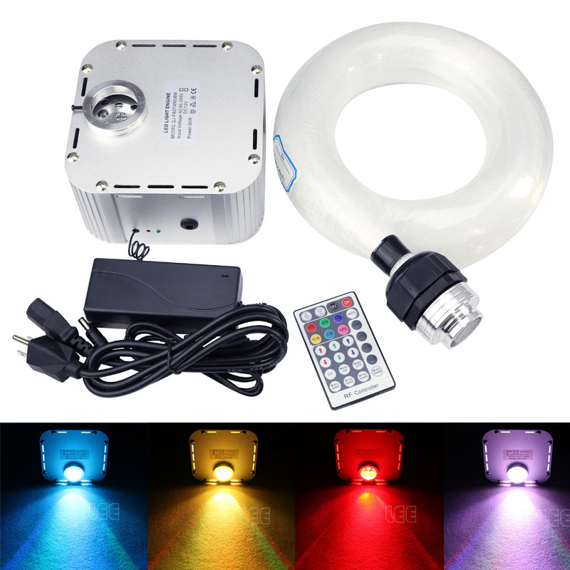 32W RVB Twinkle LED Fibre Optic Star Kit de plafond 630 brins 4M (0,75 + 1 + 2 + 3mm) Fibre Optique avec télécommande 28Key RF