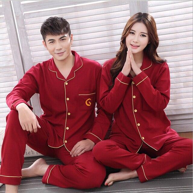 bf8263f9ac 100% Cotton Couple Pajama Sets Lovers Matching Clothing Long Sleeve Pyjama Set  Night Suit Sleepwear