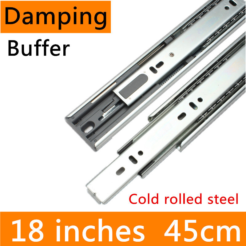 2 pairs 18 inches 45cm Hydraulic Damping Buffer Guide Rail accessories Cold-Rolled Steel Full Extension Drawer Track Slide drawer slide rail track three mute hydraulic damping buffer t