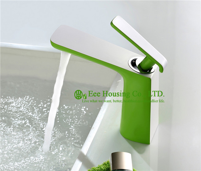 Free Shipping Brass Single-hole Basin Mixer,bathroom Faucet, Green-spray Finished,bathroom Accessories