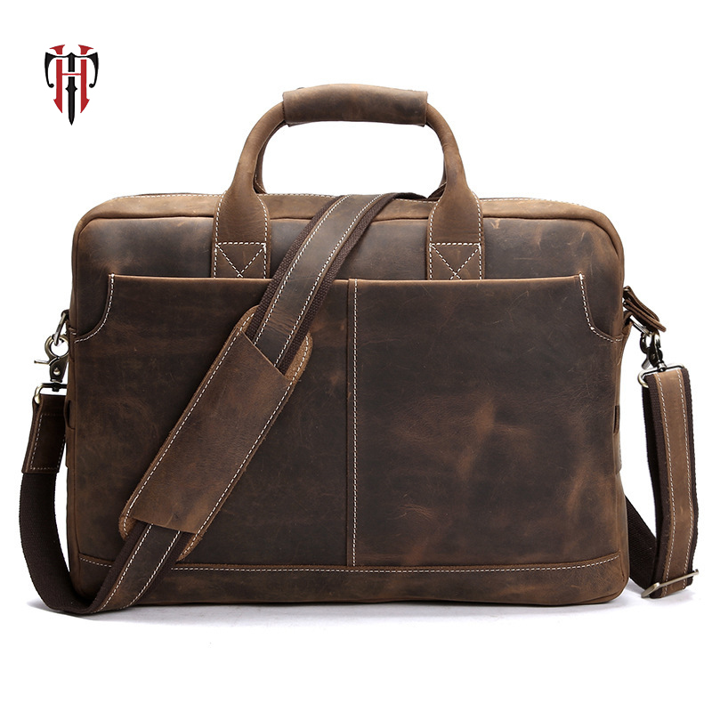 TIANHOO crazy horse leather man bags 14 inch Laptop bag crossbody vintage style for men genuine leather handle bags for workTIANHOO crazy horse leather man bags 14 inch Laptop bag crossbody vintage style for men genuine leather handle bags for work