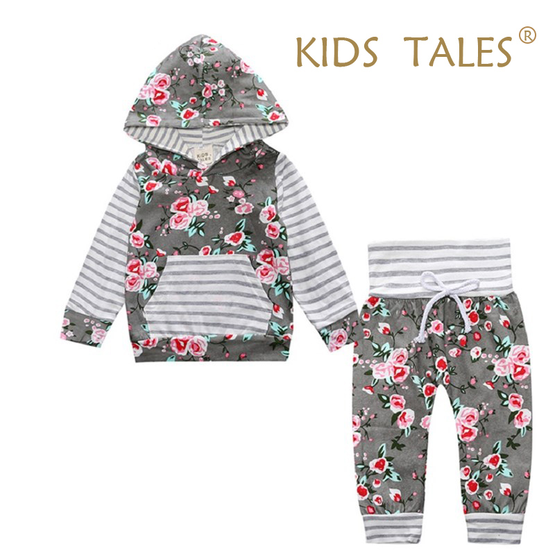 2017 Hot baby Autumn new baby boy clothes Children Baby Girls Long Sleeve Hooded Tops Floral pants 2 pcs. clothing set YZ148 infant newborn baby girls clothes set hooded tops long sleeve t shirt floral long leggings outfit children clothing autumn 2pcs