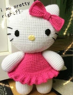 pretty kitty Amigurumi  Crochet  Stuffed animals doll toy shower rattle