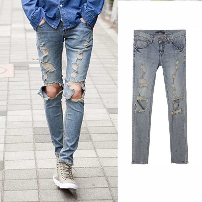 ec14abc7 denim pants stonewashed distrresse white hole vintage plus size ripped  jeans men skinny Distressed slim designer biker hip hop