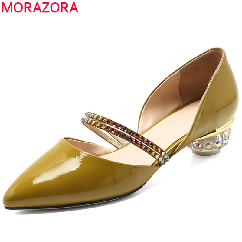 MORAZORA black 2020 fashion summer shoes pointed toe pumps shoes women genuine leather med heels comfortable big size-in Women's Pumps from Shoes    1