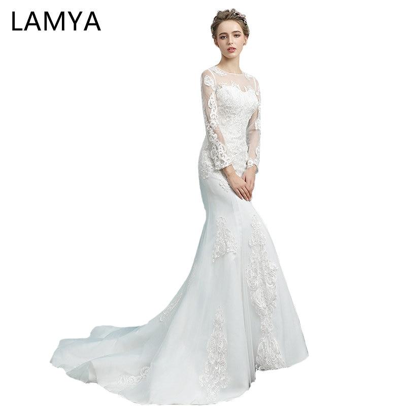 US $97.99 30% OFF|LAMYA Full Lace Sleeve Mermaid Wedding Dresses Real Photo  Vintage Plus Size Bridal Gowns Princess Court Train vestido de noiva-in ...