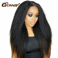 Indian Kinky Straight Hair Full Lace Human Hair Wigs For Black Women Gossip Hair Remy Kinky Straight Wig Pre Plucked Black Wig